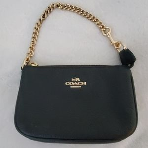 Coach black and gold wristlet